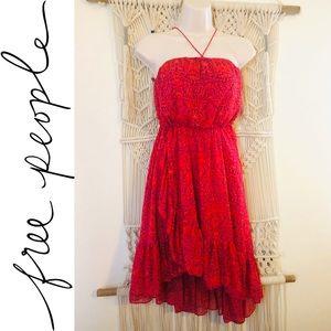 Flirty FREE PEOPLE ruffled boho halter dress